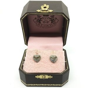 Juicy Couture pave heart banner earrings